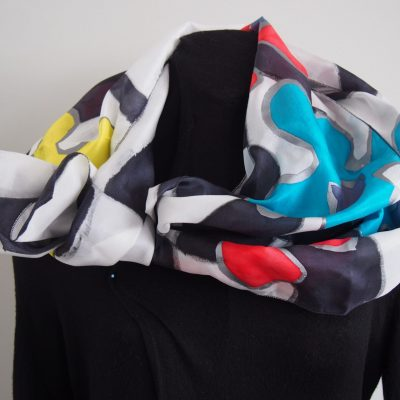 pop art flowers, silk scarf