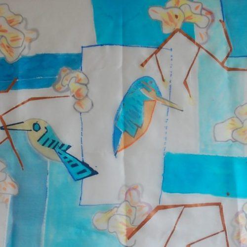 vogels en orchideeën , sjaal